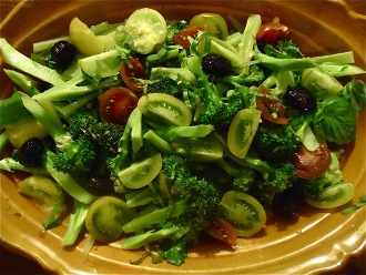 Broccoli and Tomato Salad with Olives and Basil