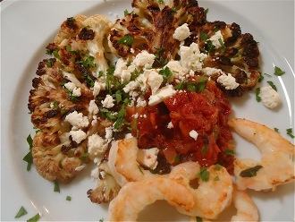 Roasted Cauliflower with Tomatoes, Feta Cheese and Shrimp—Two Ways