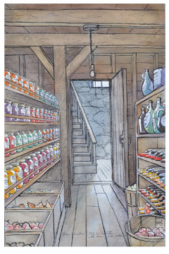 Illustration of Zoe's childhood home root cellar